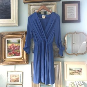 Anthropologie Maeve blue wrap dress